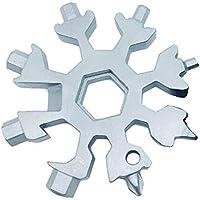 Tia-Ve 18-en-1 herramienta multifunción de acero inoxidable bicicleta multifunción, copo de nieve llavero multiherramienta llavero abridor de botellas herramientas de la llave del anillo