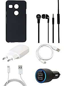 NIROSHA Cover Case Charger Headphone USB Cable for LG Nexus 5x - Combo