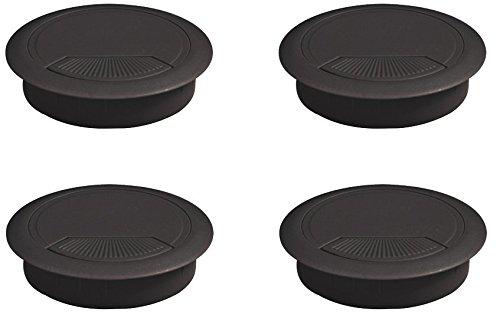 Emuca 3196417 Set von 4 runden Kabeldurchführungen Durchmesser 60mm zum Einfügen am Schreibtisch, aus schwarzem Kunststoff, Ø80mm (4un) -