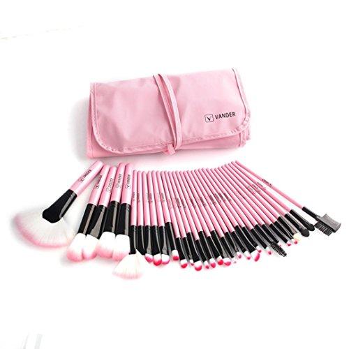 BZLine® Ensemble de Pinceau de Maquillage 32 Pcs + étui, pinceaux de Beauté Cosmetic Tools-Beginners, Pinceau de Contour des Yeux, Pinceau en Poudre (Pink)