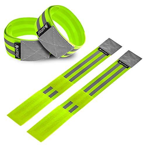 4x Reflektorband, Reflektierende Armbänder Reflexband Sicherheit Reflektoren Kinder Knöchel Band elastische Sportsarmband für Outdoor Jogging, Radfahren, Wandern, Motorrad-Reiten, Laufen [ 40 x 5 CM ]