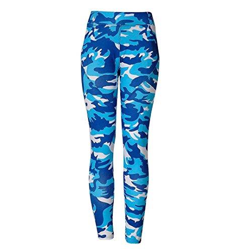 ZEZKT☀Armeegrün Tarnung Sport-Leggings Jogginghose Camouflage Printed Strumpfhose Leggins Hose Workout Stretch High Elastic Yoga Hosen Kompression Sport Lang Athletische Sporthose (S, Blau)