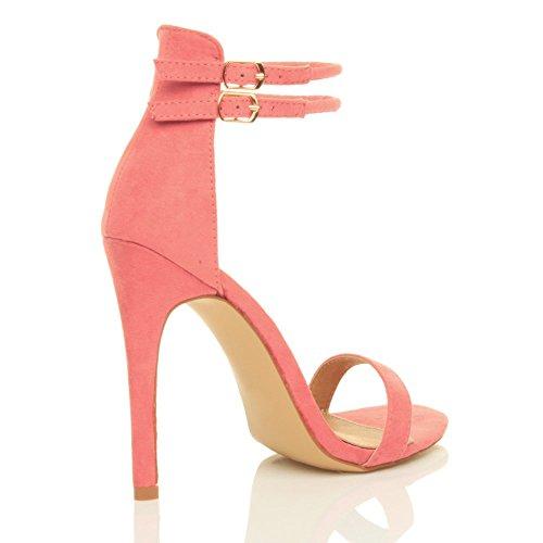 Damen Hohen Absatz Kaum Dort Fesselriemen Schnalle Stilettos High Heels Sandalen Schuhe Größe Pastellton Korallenrot Rosa Wildleder