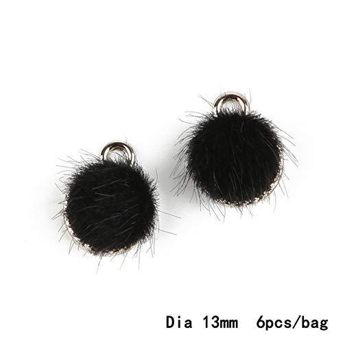 AiCheaX 6 Teile/los Imitation Mähne 13mm Loch 3mm Metall Charms Anhänger für Ohrring Halskette Modeschmuck Erkenntnisse Machen - (Farbe: Schwarz)