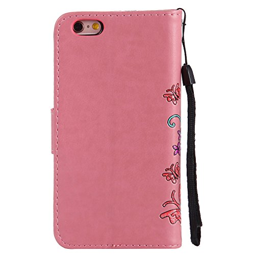 """MOONCASE iPhone 6/iPhone 6s Coque, [Embossed Pattern] Durable PU Cuir Portefeuille Housse pour iPhone 6/iPhone 6s 4.7"""" Anti-dérapante Anti-choc Protection Etui Cases Or Rose Rose"""