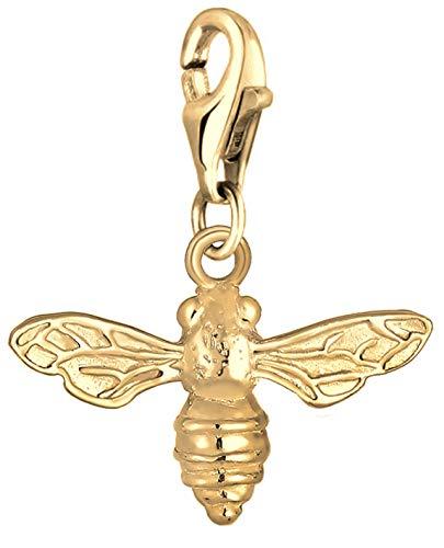 Nenalina Bienen Charm vergoldet aus 925 Sterling Silber für Damen, passend für alle gängigen Charmträger und Bettelarmband, Farbe Gold, 0403261319
