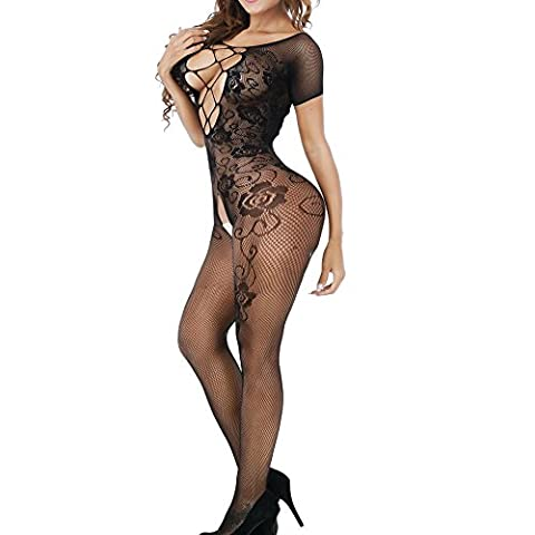 QueensHot Sexy Rose Off Shoulder Crotchless Open Bra Lingerie Babydoll Teddy Body Stocking Suit