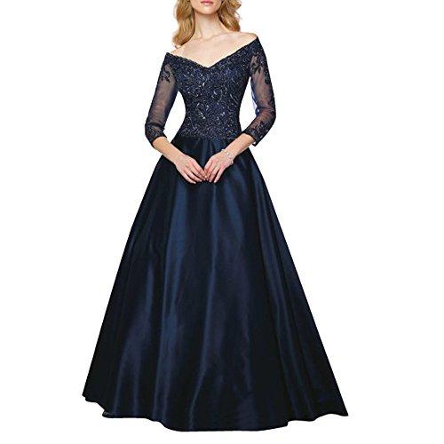 Charmant Damen dunkel Blau Spitze Langarm Abendkleider Ballkleider Partykleider Lang Prinzess A-linie Dunkel Blau