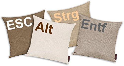 Kissenhüllen Set 4 Stück für Auserwählte! Sofakissen Motiv ESC, ALT, STRG und ENTF, Farbe braun