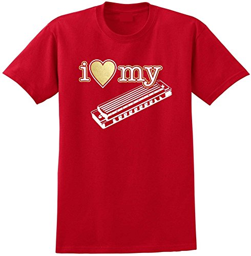 Harmonica I Love My - Red Rot T Shirt Größe 87cm 36in Small MusicaliTee (Akkordeon Aktentasche)