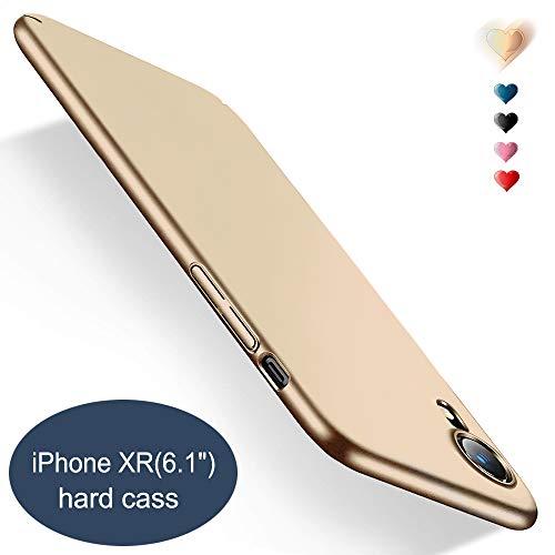 BingTC Schutzhülle Gold für iPhone XR, Schlank Hart hülle Ultra Dünn Matt Hülle Voller Schutz Anti-Kratzer Leicht Case Schale Cover Handyhülle für iPhone XR(6,1 Zoll)