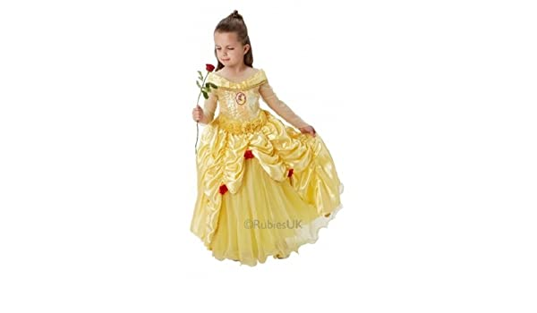 Deluxe Princess Belle Fancy Dress Beauty and Beast Costume Ladies Prom Ball Gown