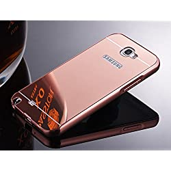 nKarta (TM) Branded Luxury Metal Bumper Acrylic PC Mirror Back Mobile Cove Case For Samsung Galaxy Note 2 - Rose Gold