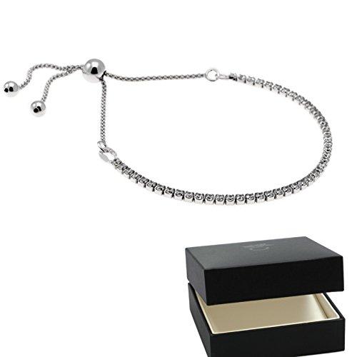 Armkette mit Zirkonia Silber 925 + GRATIS Etui + Armband schmal mit Steinen schmales Armkettchen Tennis Armband echt 925 Silber Armschmuck verstellbar cubic FF634 - Kunden-id-nummer