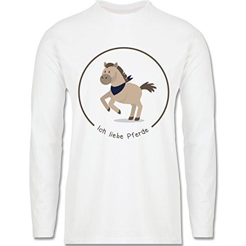 Pferde - Ich liebe Pferde - Longsleeve / langärmeliges T-Shirt für Herren Weiß