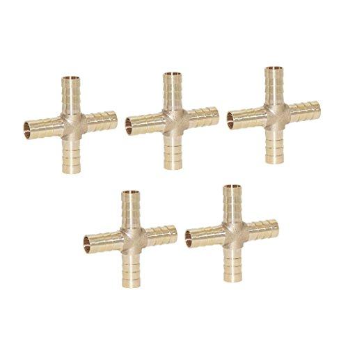 Homyl 5er-Set Messing Schlauchkupplung Schlauchverbinder Anschluss, Auswahl - 8 mm