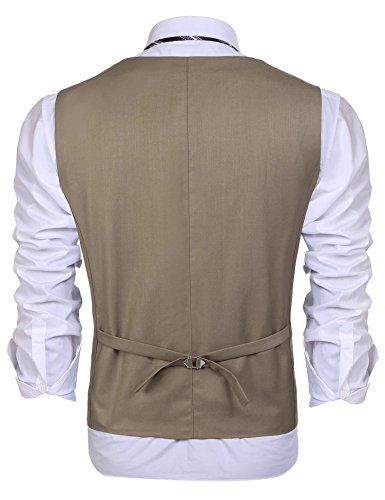 Coofandy Weste Herren Anzug V-Ausschnit Vintage Geschäftsweste Anzugweste Slim fit Anzug Ohne Arm A-3-Khaki