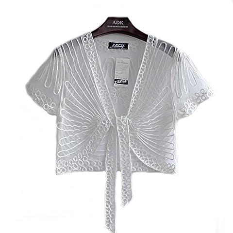 Women's Ladies Girls Short Sleeved Lace Mesh Gauze Crochet Knitted Embroidered Cropped Crop Bolero Shrug Waistcoat Cardigan Jacket Top Shawl Wrap Wedding Party Evening Prom Wear (14 UK, Ivory White)