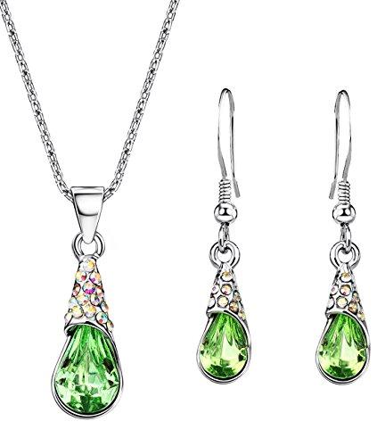 NEOGLORY Conjunto Collar Pendientes con Cristales SWAROVSKI VERDE Joya Original Regalo Mujer Chica