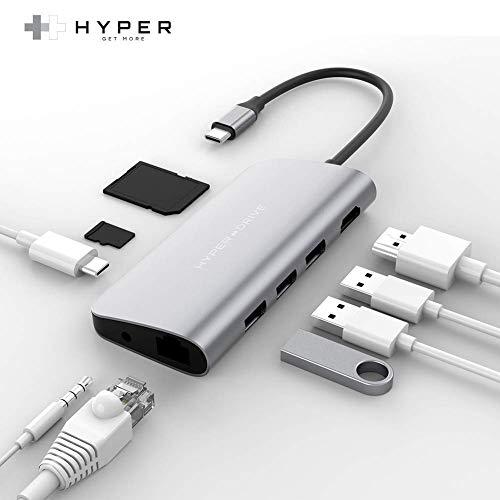HyperDrive USB-C Hub Adapter für iPad Pro, MacBook Pro/Air, Power 9-in-1 USBC Hub Dongle mit 4K HDMI, USB-C PD, Gigabit Ethernet, Audio Jack, 3X USB 3.0, Micro/SD Kartenschlitze (Silber)