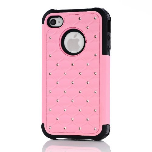 meaci (TM) Rose et Noir iPhone 4/4S paillettes clouté Diamant Coque de protection double couche