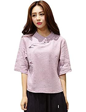 Hzjundasi Estilo chino Button Manga 3/4 Suelto Algodón Lino Camisa New Folk-custom Blusas