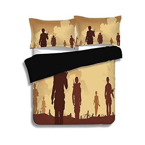 Kostüm Soldaten Fuß - Schwarzer Bettbezug-Set, Krieg Home Decor, Soldat Schatten mit militärischen Kostümen und Waffen zu Fuß auf Patrol Print, braune Creme, dekorative 3 Stück Bettwäsche Set von 2 Pillow Shams, TWIN Größe