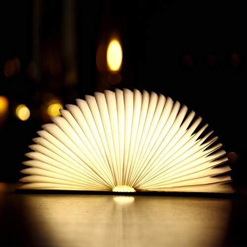 JHSHENGSHI LED Nachtlicht für Kinder,4 Farbmodi Buchlampe aus Holz, Buchlampe led,USB stimmungslichter,Tischleuchte,Nachttischlampe 2000mAh,360°Faltbar