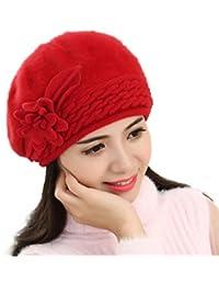 Lenfesh Invierno Tejer Boinas Sombrero con Perlas Gorrita Mullida para  Mujeres d2c8850d4e8