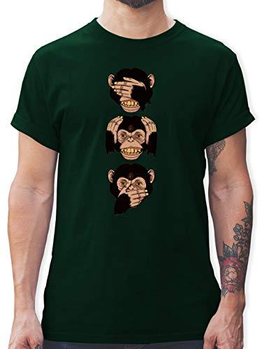 Statement Shirts - DREI Affen - Sanzaru - L - Dunkelgrün - L190 - Herren T-Shirt und Männer Tshirt