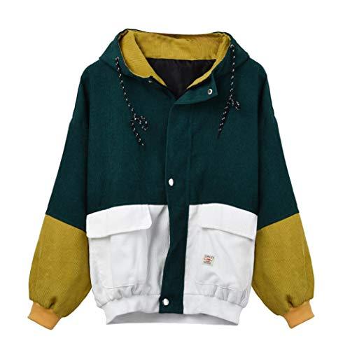 VECDY Jeans Damen Mantel Mode Frauen Langarm Cord Patchwork Oversize Jacke Windbreaker Mantel Sweatshirt Mode Pullover Windjacke Bluse Ag Jeans, Cord Jeans