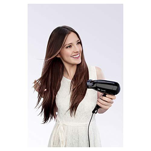 Braun Satin Hair 1 HD130 Style&Go - Secador de pelo viaje, multivoltaje, 1200W, negro