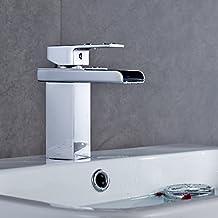Réduction pour Prime Day: Auralum® Design Robinet de lavabo Mitigeur D'évier Cascade Salle De Bains Chrome