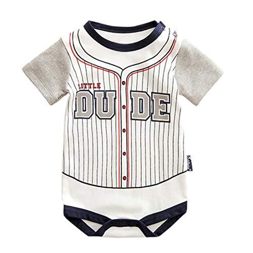 Alte Baseball-jersey (ALLAIBB Sommer Infant Baby Jungen Outfit Baumwolle gestreiften Bodysuit Sport Shirts Strampler (Color : 3741, Size : 6M))