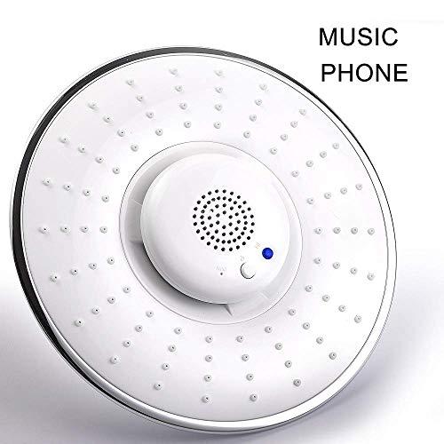 Duschen Feste Duschköpfe, Bluetooth Hochdruck Regen Duschkopf mit Wasserdichtes Bluetooth-Lautsprecher, Unterstützung Anrufe tätigen und empfangen Funktion for Badezimmer, Whitehead ( Color : White )