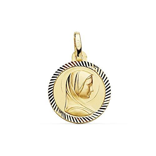 Medalla Oro 18K Virgen Niña Francesa Hélice 14mm. Borde [Ab9418Gr] - Personalizable - Grabación Incluida En El Precio