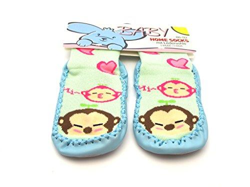 Baby und Kinder Home Socks - Krabbelsocken, Hüttensocken, Hausschuhe - mit rutschfester Ledersohle - Affen Liebe / Blau - Gr. 62-68 (Socke Affe-baby Blau)