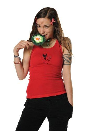 débardeur femme / T-Shirt court d'été imprimé d'elfe Om de 3Elfen - coton haut Rouge