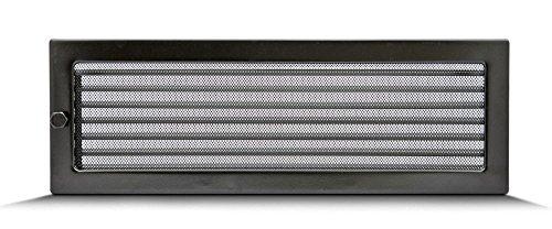 Lüftungsgitter Luftgitter Warmluftgitter Kamingitter regulierbar schwarz verschiedene Größen 17x11cm 17x17cm 17x30cm 17x50cm mit oder ohne Lamellen (17 x 50 cm mit Lamellen)