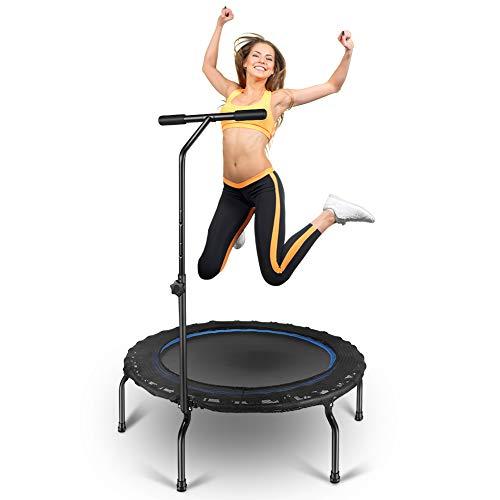 Yosoo Health Gear Fitness Trampolin Mit Haltegriff, Indoor Trampolin Faltbar mit Griff, Aerobic Bouncer Rebounder Trampolin für Sport, Cardio Workouts, Maximale Belastung 120KG