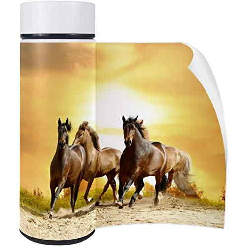 Wild Horse Mustang (Bennigiry Wild Horses Mustangs Reisebecher, Edelstahl, doppelwandig, vakuumisoliert, Wasserflasche, PU-Lederbezug, doppelwandig, 412 ml)