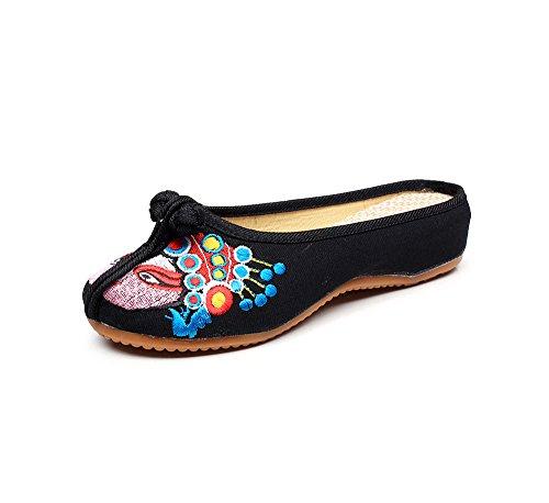 KAFEI La sig.ra ricamato scarpe di tela tendine di manzo fondo morbido fondi cool trascinare Home Black