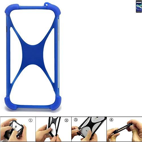 K-S-Trade Bumper für General Mobile GM 6 Silikon Schutz Hülle Handyhülle Silikoncase Softcase Cover Case Stoßschutz, blau (1x)