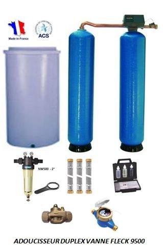 Adoucisseur d'eau duplex 2x225L fleck 9500 complet
