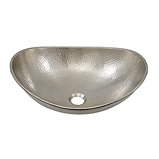 Sinkology SB305-19N Hobbes 19 Inch Above Counter Vessel Sink Handcrafted in Hammered Nickel
