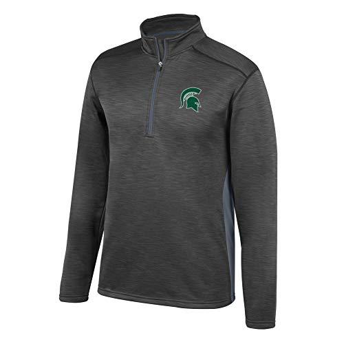 eLITe Top of The World NCAA Men's Michigan State Spartans Poly Cross Dye Next Calibur Half Zip Black Large Fleece-screen Print Pullover