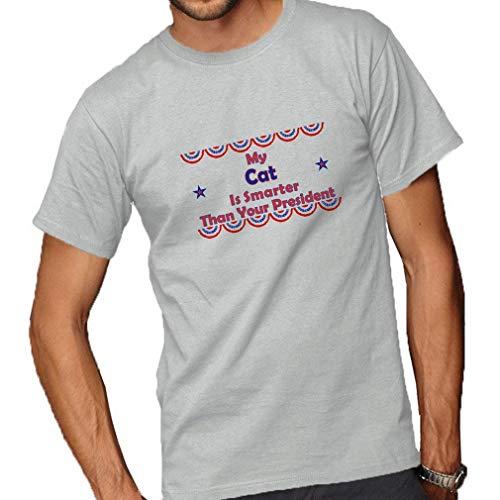 SKQIT Das Spaß-T-Shirt der Männer Juniors T-Stück Grafikoberteile Meine Katze ist intelligenter als Ihr Präsident Adult T-Shirt Ash Grey Rundhals T-Shirt Tops Shirts XL -