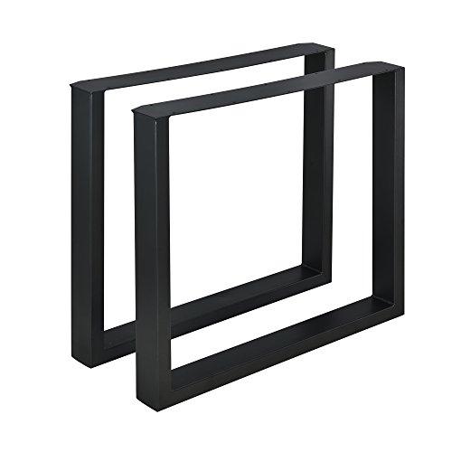 [en.casa]®] 2 x Conjunto de Patas de Mesa - Set de 2X Patas de Mesa - Metal - Patas de los Muebles - 80 x 72 cm - para Mesa de Comedor - Armazón de Mesa - con protección para Suelo - Negro