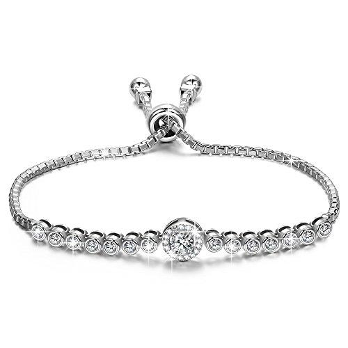 Alex perry regalo per la festa della mamma 925 argento regalo donna regolabile braccialetto regali trasparente cubic zirconia regali gioielli per san valentino madre moglie figlia ragazza lei