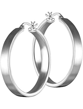Vinani Damen-Klapp-Creolen mattiert Sterling Silber 925 Ohrringe CBAM